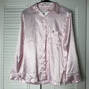 Victoria's Secret pin stripe sleep silk top small